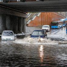 Klaipėdoje per valandą iškrito trečdalis mėnesio kritulių normos
