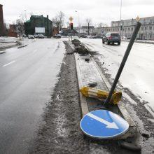 """Po girtų vairuotojų """"ralio"""" liko suniokoti gėlių vazonai ir kelio ženklai"""