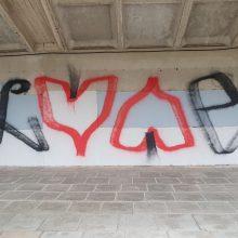 Uostamiestyje vandalai nenuplaunamais dažais apipaišė vasaros estradą