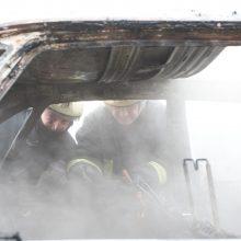 Vilniaus ir Trakų rajonuose naktį sudegė septyni automobiliai ir traktorius
