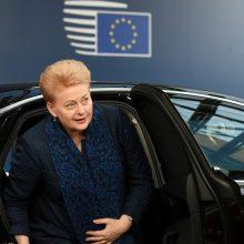 """D. Grybauskaitė įsitikinusi, kad ES nukels """"Brexito"""" terminą"""