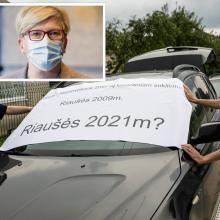 Premjerė apie protestus dėl migrantų: tai bandymas trukdyti atsakingų tarnybų darbui