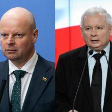 Lenkijos valdančiųjų lyderiui siūlo skirti Lietuvos valstybinį apdovanojimą