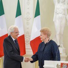 Italijos prezidentas reiškia solidarumą Lietuvai dėl kylančių saugumo iššūkių