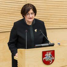 L. Graužinienė apie draudimą kalbėtis Seimo salėje: tai – neįgyvendinama