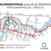 """Per """"Velomaratoną"""" bus eismo ribojimų ir viešojo transporto pakeitimų"""