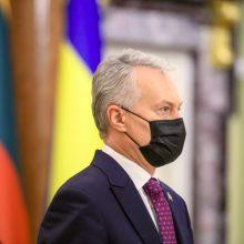 """G. Nausėda Ukrainoje sulaukė klausimų dėl skiepijimo """"AstraZeneca"""" vakcina sustabdymo"""