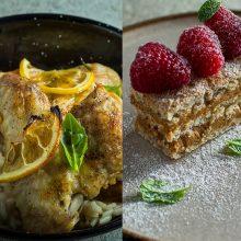 Pietums – sultingi vištienos sparneliai ir cinamonu kvepiantis pyragas