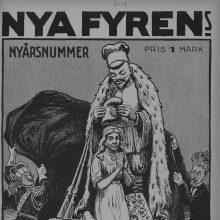 """Suomijos žurnalo ,,Fyren"""" viršelis, vaizduojantis Rusiją, pripažįstančią Suomijos Nepriklausomybę. 1918 m. sausio mėn."""