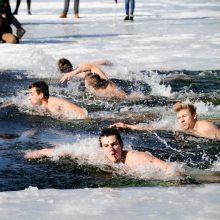 """Lediniame vandenyje varžėsi 200 """"ruonių"""" – visi įveikė 25 metrus"""