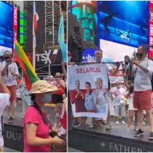 Plinta Niujorke nufilmuotas vaizdo įrašas: lietuvis ragina palaikyti baltarusius