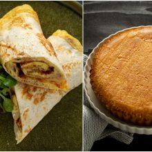 Savaitgalio pusryčiams – omletas su pievagrybiais tortilijoje ir trapus varškės pyragas