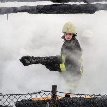 Ugniagesiai kovojo su liepsnomis: Telšių rajone sudegė gyvenamasis namas