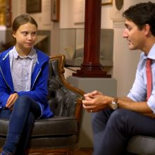 Po susitikimo su G. Thunberg sumažėjo parama Kanados premjerui J. Trudeau