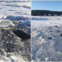 Žvejai nepaiso įspėjimų: jau išmėgino Kuršių marių ledą