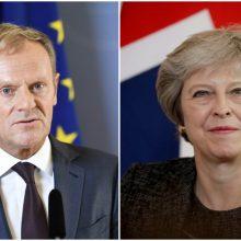 """ES pareigūnas: D. Tuskas turi naują planą dėl """"Brexit"""", Th. May prašo pratęsimo"""