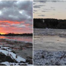 Neryje kyla vandens lygis: upe pajudėjo ledai