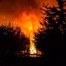 Švenčionių rajone – gausios ugniagesių pajėgos: atvira liepsna dega gyvenamasis namas
