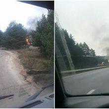 Per dvi valandas užgesinta šalia dujotiekio Alytaus rajone degusi dujų garinimo įranga