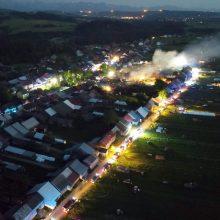 Lenkijoje – milžiniškas gaisras: liepsnos apėmė dešimtis namų, sužeisti devyni žmonės