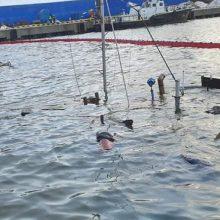 Klaipėdos uoste nuskendusią žemkasę apžiūri narai: iškėlimas atidėtas