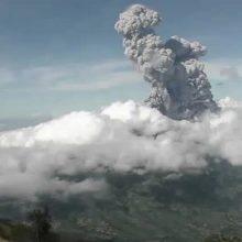 Aktyviausias Indonezijos ugnikalnis vėl išspjovė didžiulį pelenų debesį