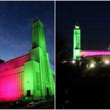 Kauno Kristaus Priskėlimo bazilika nušvito nekasdieniškomis spalvomis: viskas – dėl kilnaus tikslo