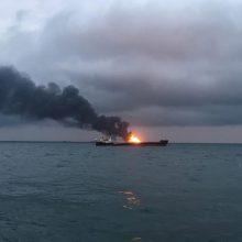 Kerčės sąsiauryje užsiliepsnojo du laivai: žuvo 20 žmonių