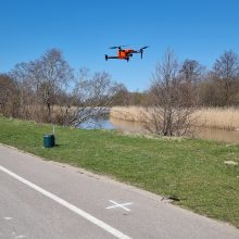 Dangę matuoja dronas