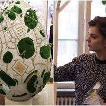 Menininkės J. Vaitkutės staigmena: sukūrė milžiniškų margučių kolekciją