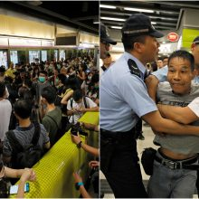 Honkonge nesiliauja protestai: blokuotas traukinių eismas