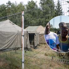 Subjuro ne tik oras, bet ir migrantų nuotaika: dėl sušlapusių palapinių Rūdninkuose kilo konfliktas