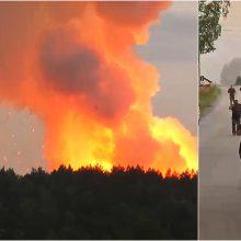 Rusijoje per gaisrą šaudmenų sandėlyje žuvo vienas žmogus, tūkstančiai evakuoti