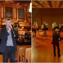 Lietuvoje lankosi pasaulinė trombonų žvaigždė: muzikantai mokosi meistriškumo pamokų