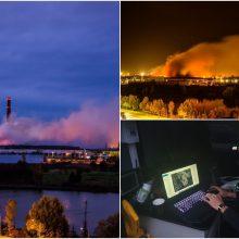 Milžiniškas gaisras Alytuje suvaldytas, bet gali griūti pastatai