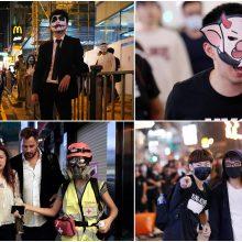 Honkongo protestuotojai nepaiso taisyklių: veidus dengia kaukėmis, vyksta susirėmimai
