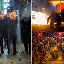 Honkongo policija puola universiteto komplekse apsuptus protestuotojus