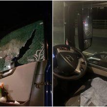 Piktadariai nusitaikė į vilkikų vairuotojus: į langus svaigo akmenis, grasina peiliu