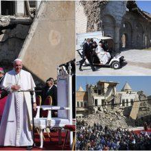 Irake popiežius Pranciškus meldėsi už karo aukas