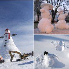 Linksmas pasaulis: sniego žmonės su didele širdimi