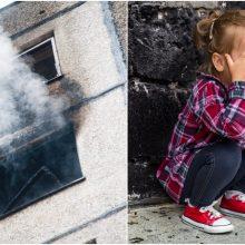 Angelai sargai: pareigūnas iš degančio daugiabučio išgelbėjo trejų metų mergaitę