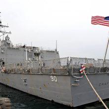 Rusija teigia išvijusi iš savo vandenų amerikiečių karo laivą, Vašingtonas tai neigia