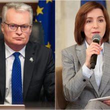 Lietuvos prezidentas su Europos kolegomis išsakė paramą naujajai Moldovos prezidentei