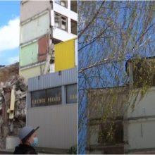 Per žingsnį nuo tragedijos: griaunamo pastato konstrukcijos rėžėsi į parduotuvę