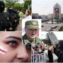 """Tūkstantinė minia Minsko centre skanduoja """"Gėda!"""" ir """"Išeik!"""""""