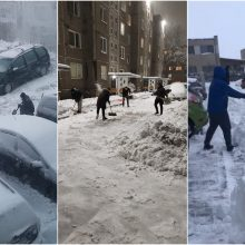 Siautėjanti pūga suvienijo kaimynus: kauniečiai kelininkų nelaukia – sniegą kasa patys