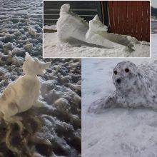 Šančiškiai stebina įspūdingais sniego gyvūnais: gausiau pasnigus ragina kurti visą skulptūrų parką!