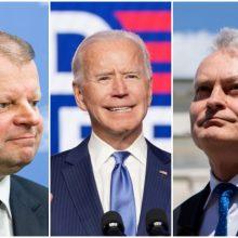 G. Nausėda ir S. Skvernelis sveikina J. Bideną su pergale prezidento rinkimuose