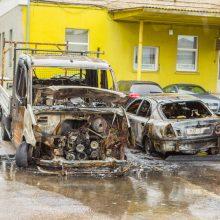 Naktį Kauno ugniagesiai skubėjo gesinti pleškančių automobilių