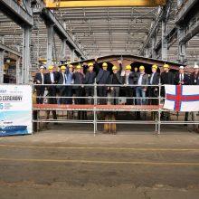 """""""Vakarų Baltijos laivų statykloje"""" statomas mokslinių tyrimų laivas"""